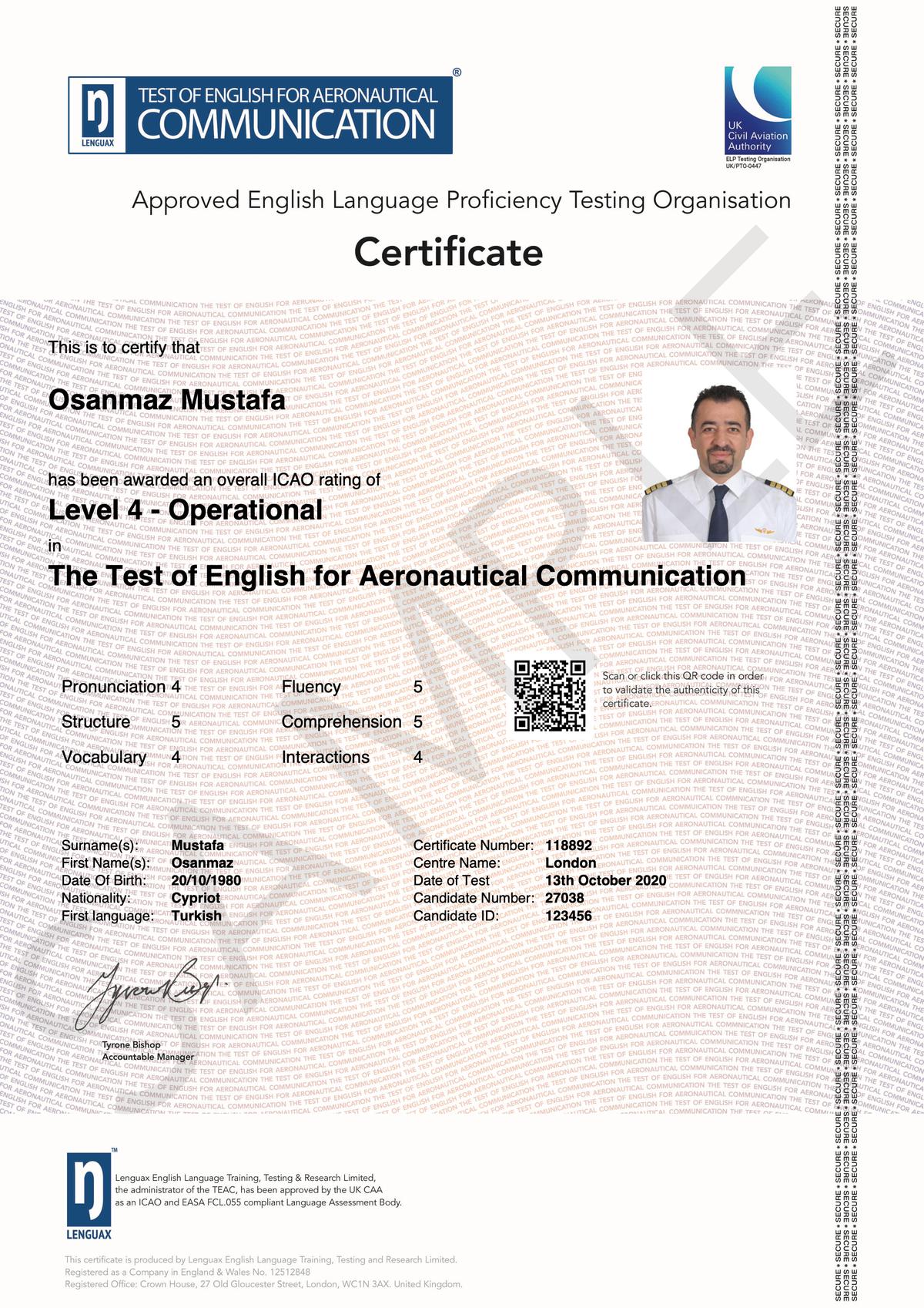 UK CAA Certificate