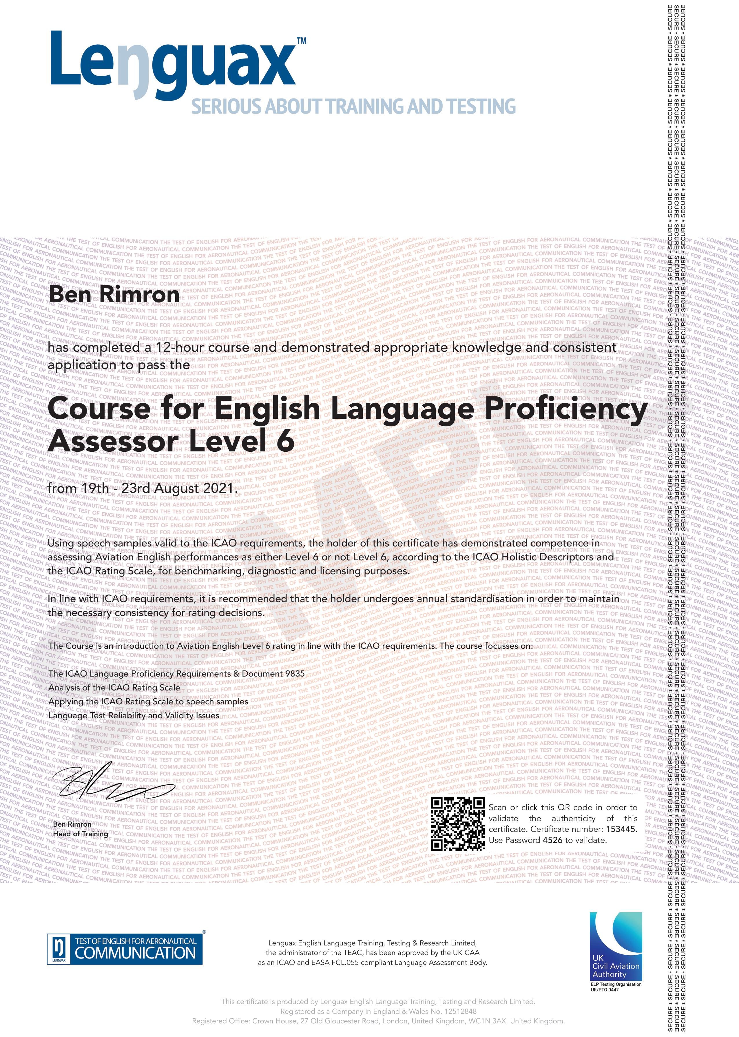Level 6 Assessor Certificate